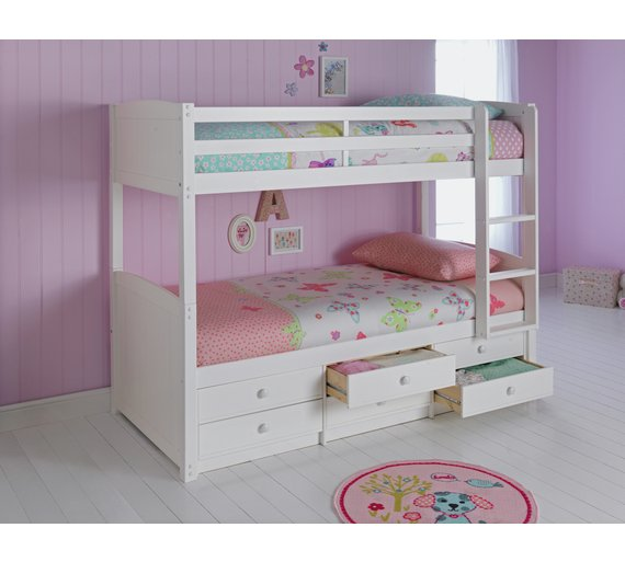 Buy home leigh detachable single bunk bed frame white at for Detachable bunk beds