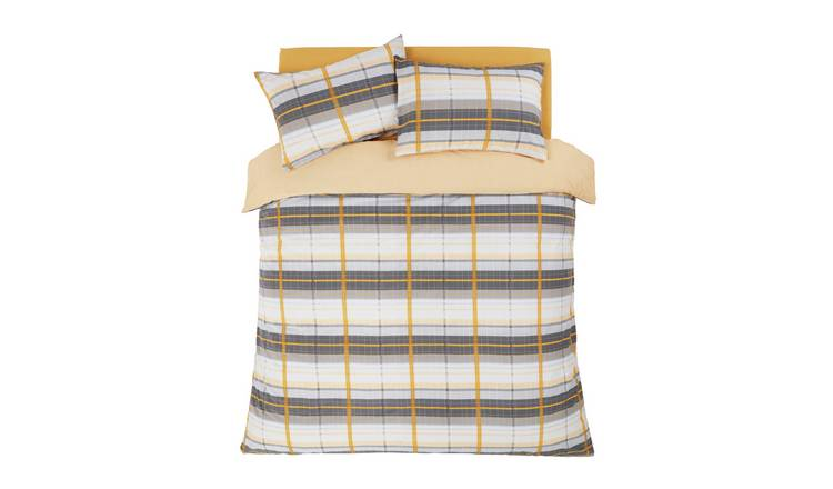 Argos Home Mustard and Grey Check Bedding Set - Kingsize