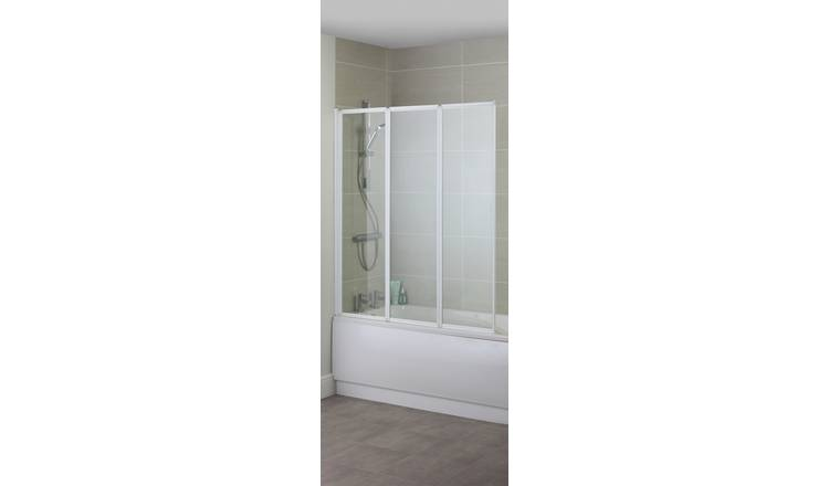 Croydex 3-Fold Bath Screen - White & Glass
