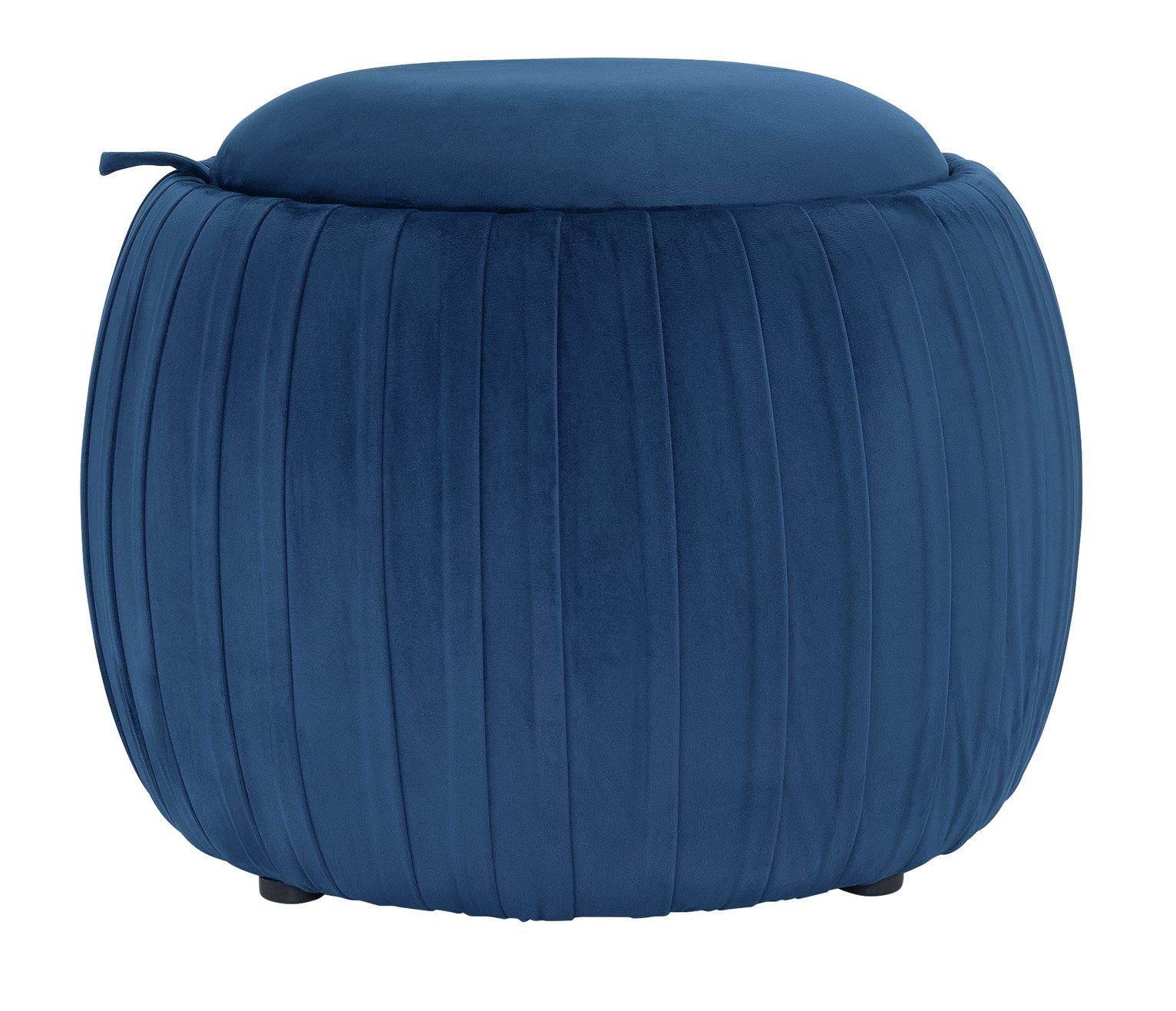 Argos Home Ellie Velvet Storage Footstool - Navy