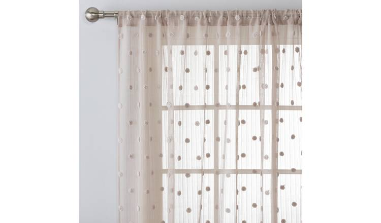 Argos Home Pom Pom Tab Top Voile Curtain Panel - Grey