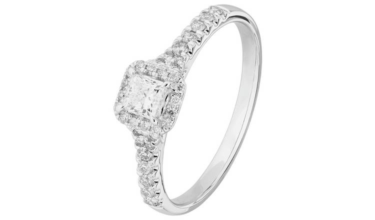 Revere 9ct White Gold 0.50ct tw Diamond Halo Ring - N