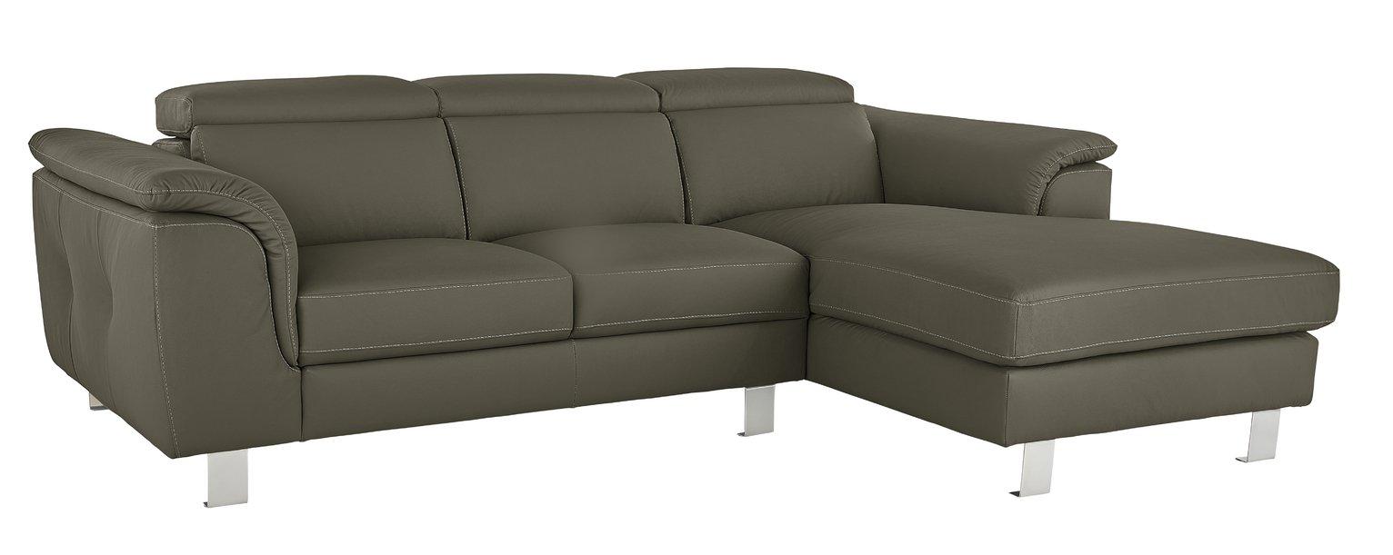 Argos Home Boutique Right Corner Faux Leather Sofa - Grey