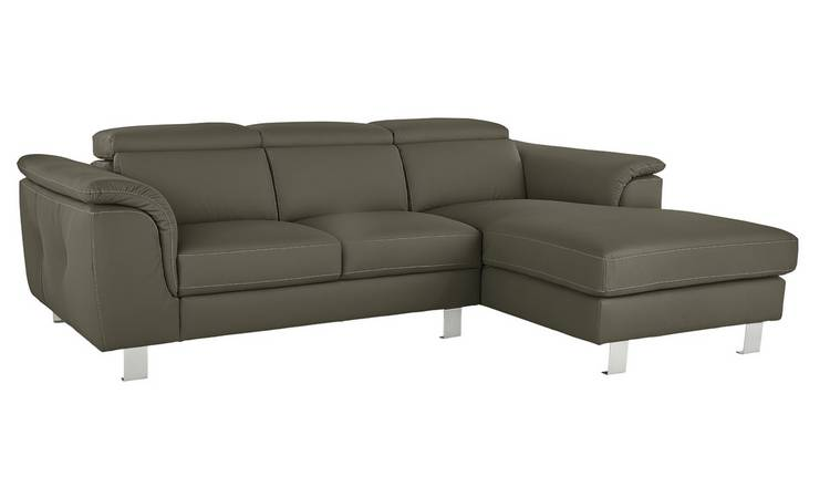 Argos Home Boutique Right Corner Faux Leather Sofa - Grey