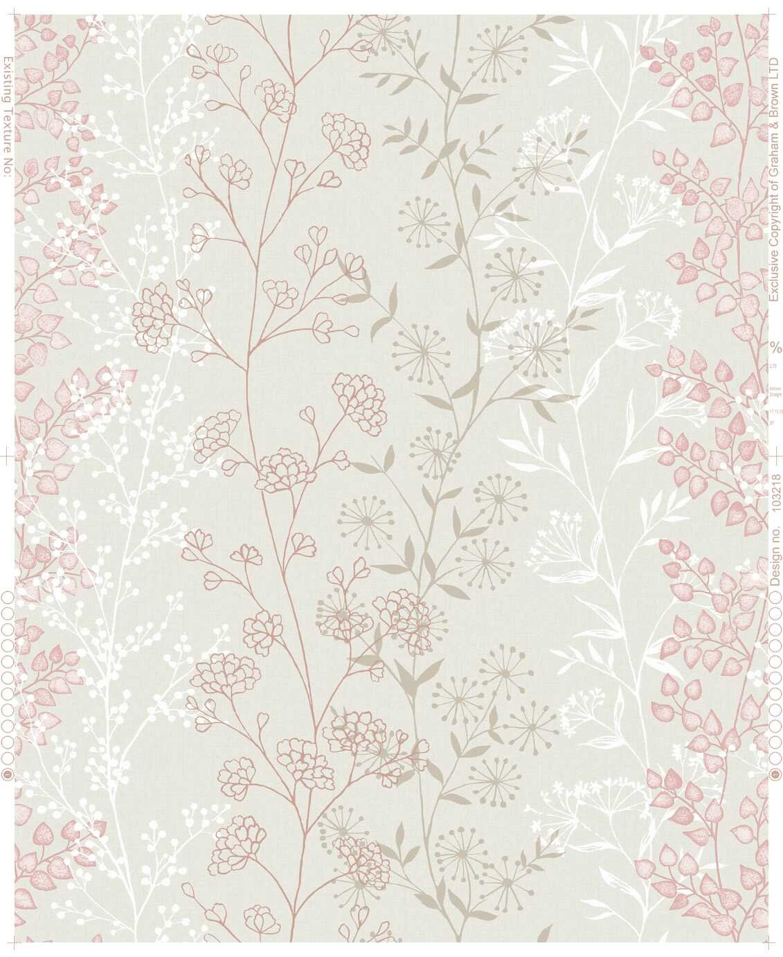 Fresco Jemima Sprigs Blush Pink Wallpaper