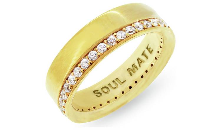 Revere Mens 9ct Gold Plated Silver 'Soul Mate' Ring - T