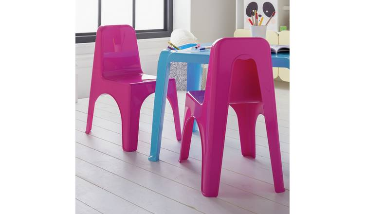 Argos Home Pair of Pink Plastic Chairs
