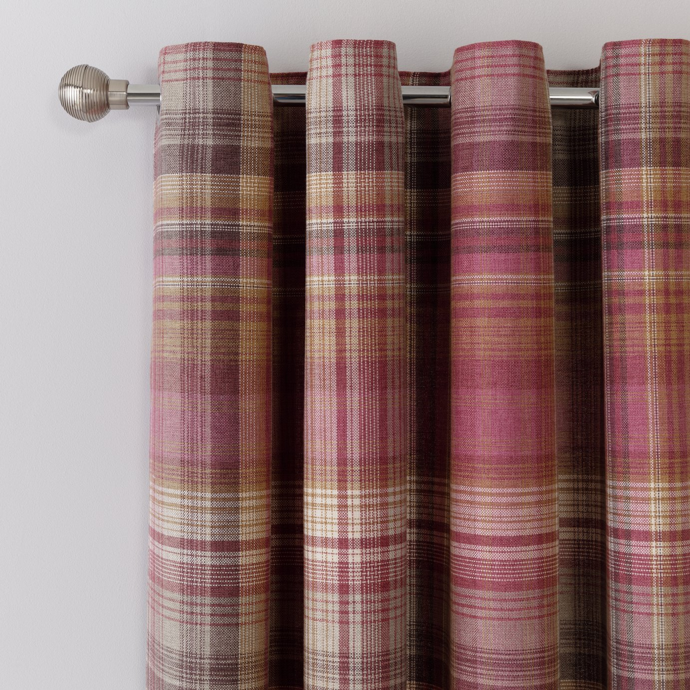 Argos Home Brushed Check Lined Eyelet Curtains - Purple