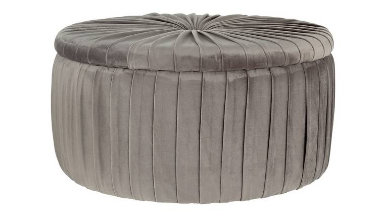 Argos Home Leckie Velvet Storage Footstool - Light Grey
