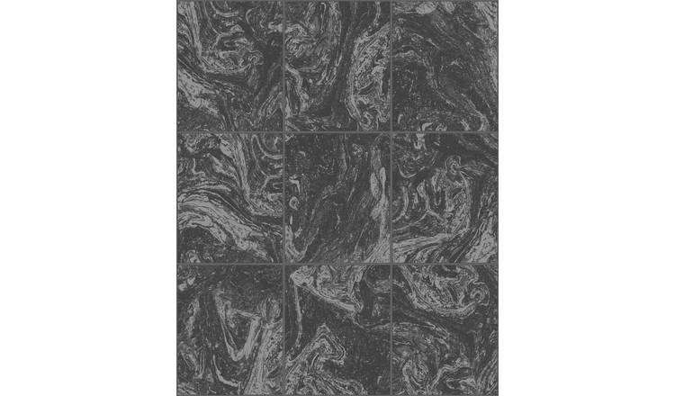 Contour Glitter Black Marble Tile Wallpaper