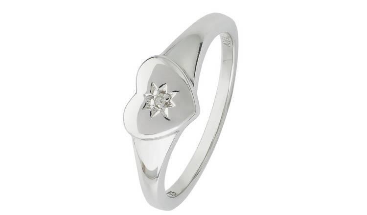 Buy Revere Kids Sterling Silver Diamond Accent Heart Ring -Small | Kids  rings | Argos