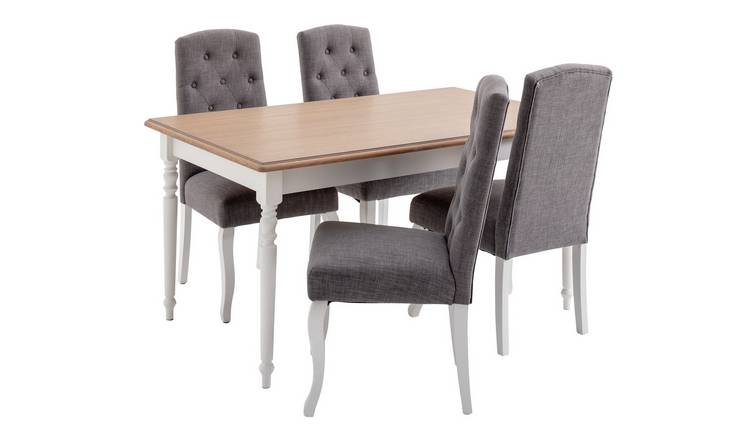 Argos Home Le Marais Oak Veneer Table & 4 Grey Chairs