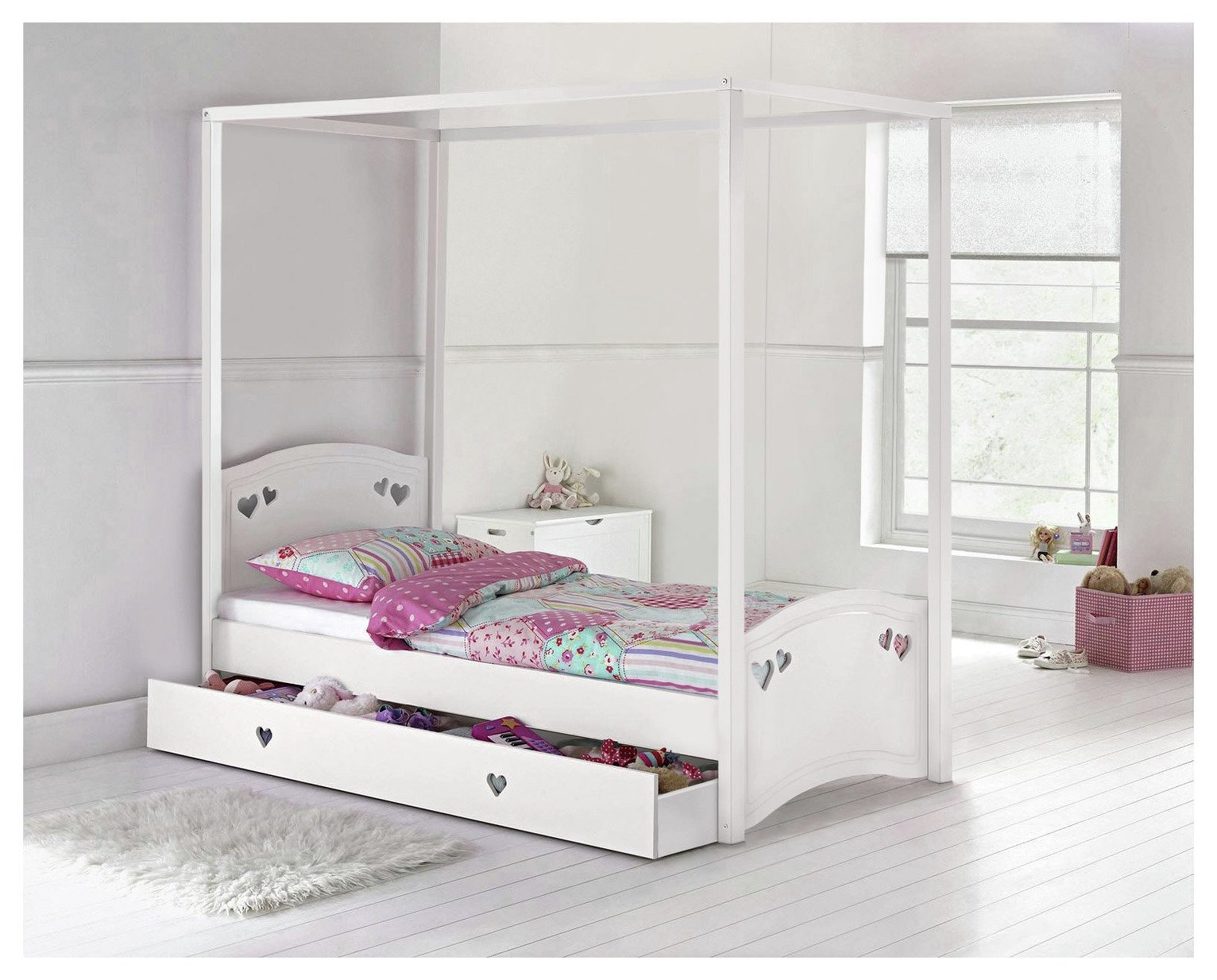 Argos Home Mia Single 4 Poster Bed and Kids Mattress - White