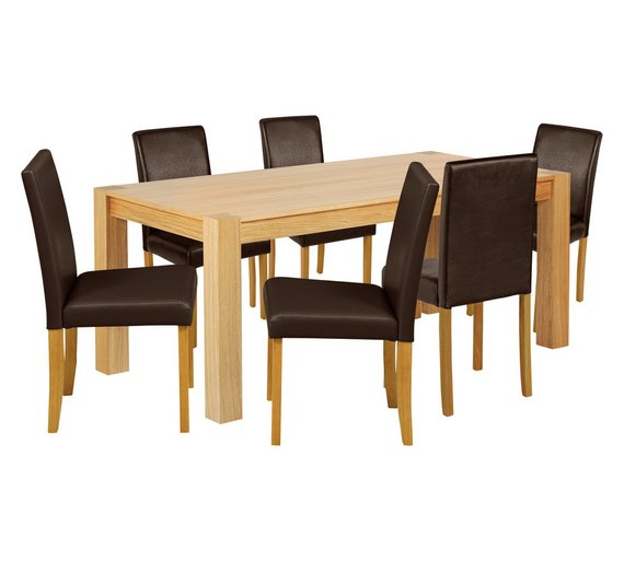 Buy collection indiana 180cm oak table 6 chairs for 6 kitchen chairs for sale