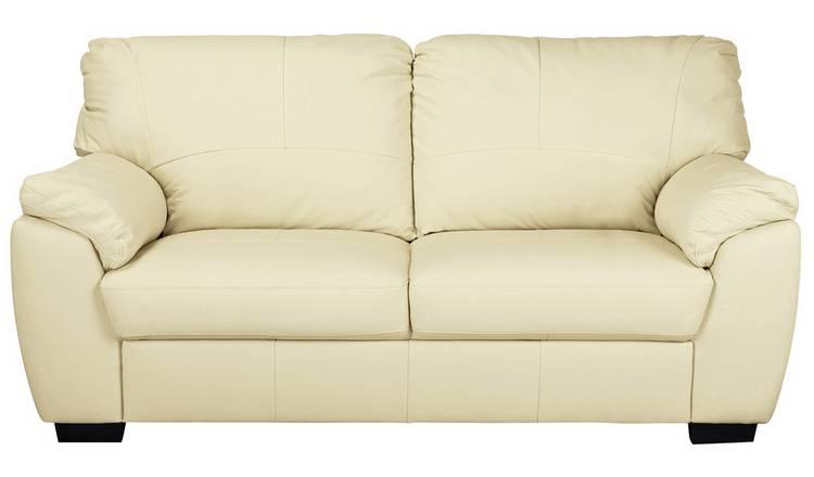 Buy Argos Home Milano 3 Seater Leather Sofa - Ivory | Sofas | Argos