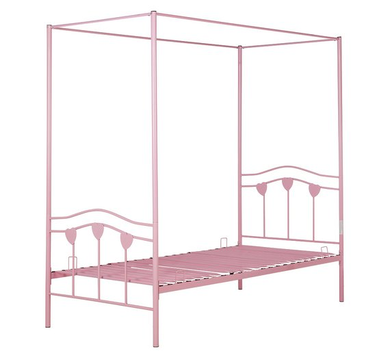 Buy Argos Home Hearts Single 4 Poster Bed Frame - Pink | Kids beds ...