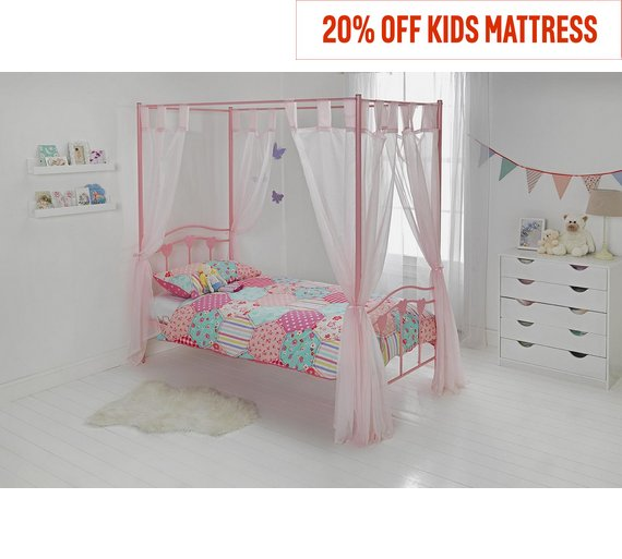 HOME Hearts Single 4 Poster Bed Frame - Pink