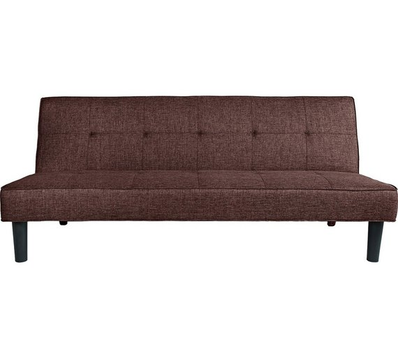 Buy HOME Patsy 2 Seater Fabric Clic Clac Sofa Bed - Chocolate at ...