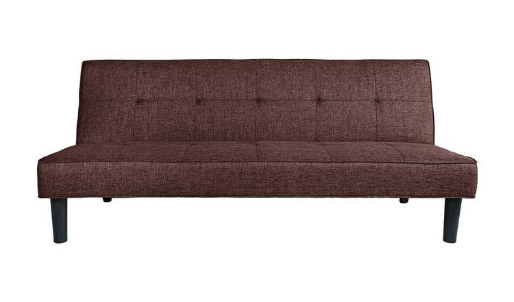 Buy Argos Home Patsy 2 Seater Fabric Clic Clac Sofa Bed - Brown | Sofa beds  | Argos