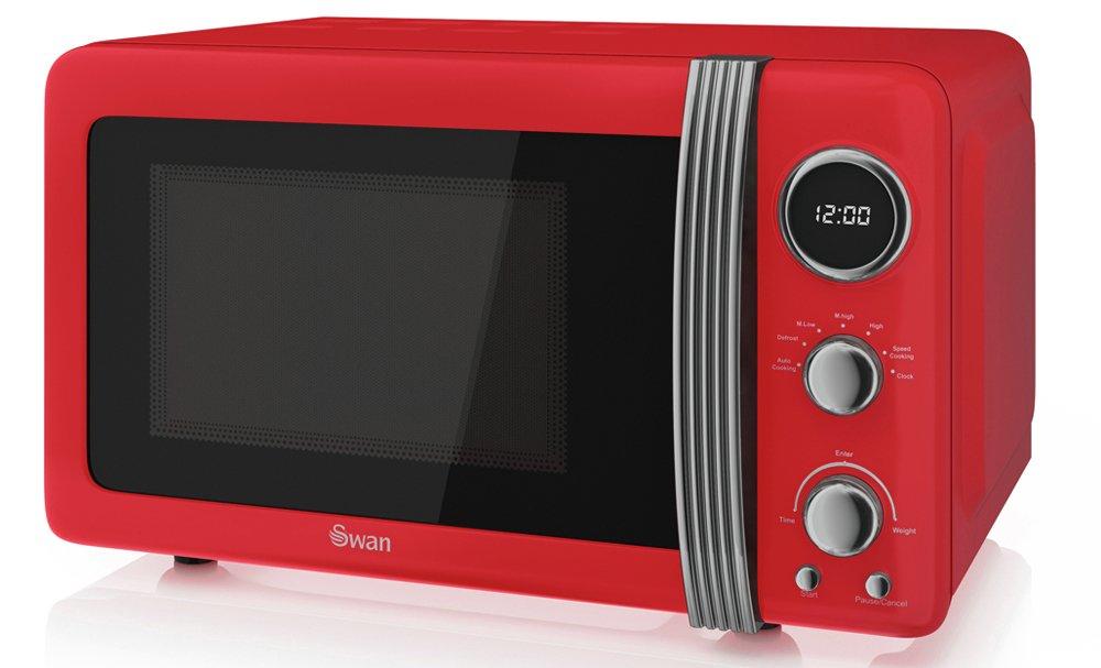 Swan 800W Standard Microwave SM22030RN - Red