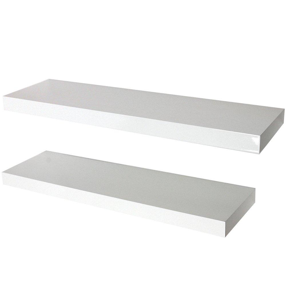 Image of 70cm Set of 2 Floating Shelves - White Gloss