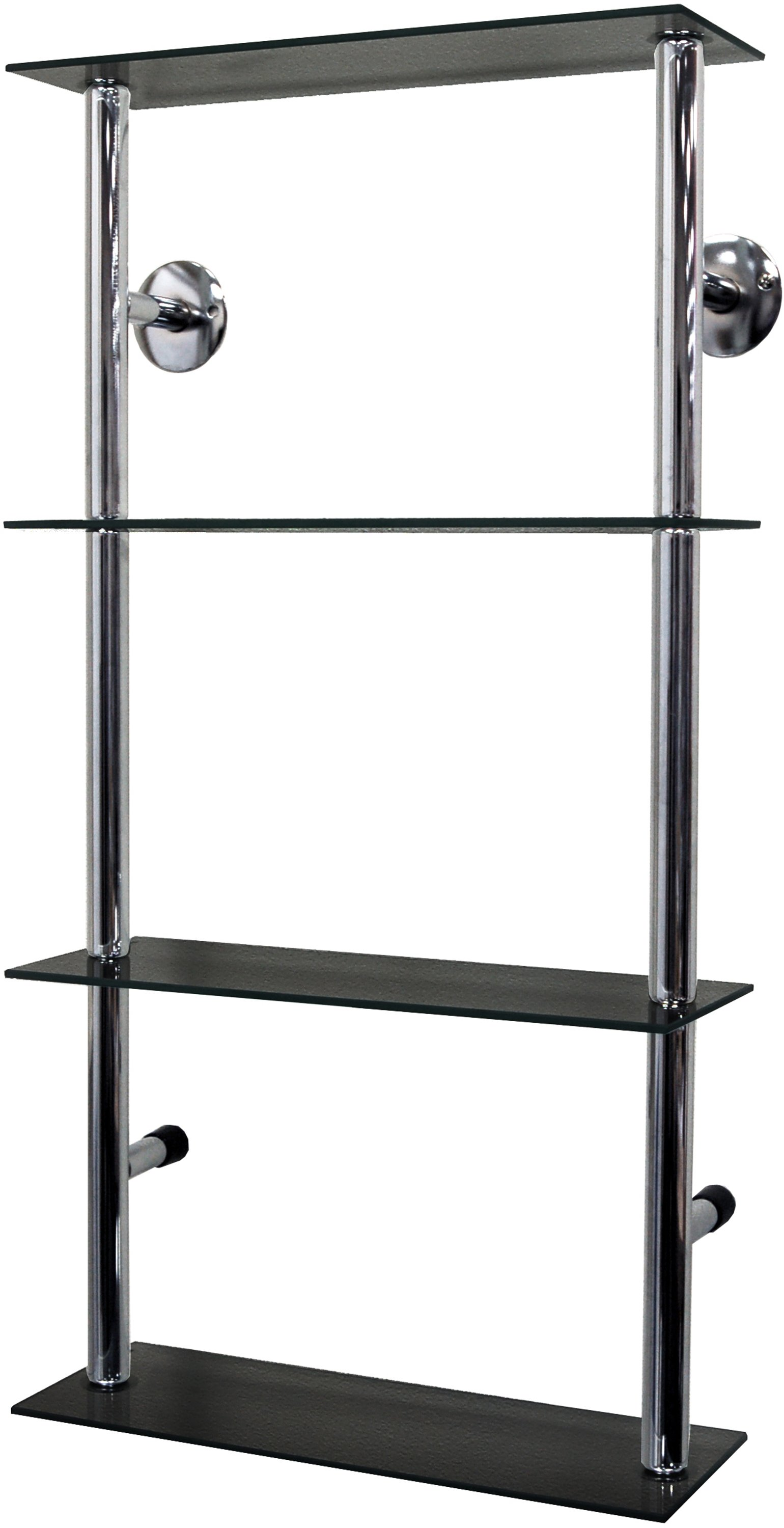 40cm 4 Glass Display Shelves - Black and Chrome