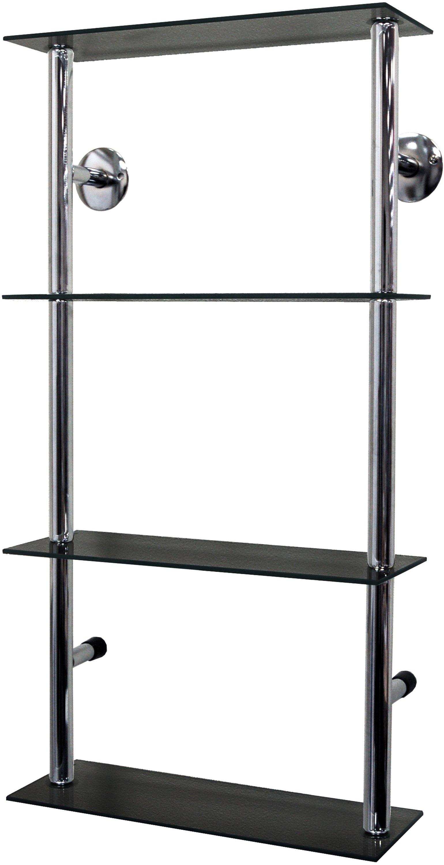 Image of 40cm 4 Glass Display Shelves - Black and Chrome