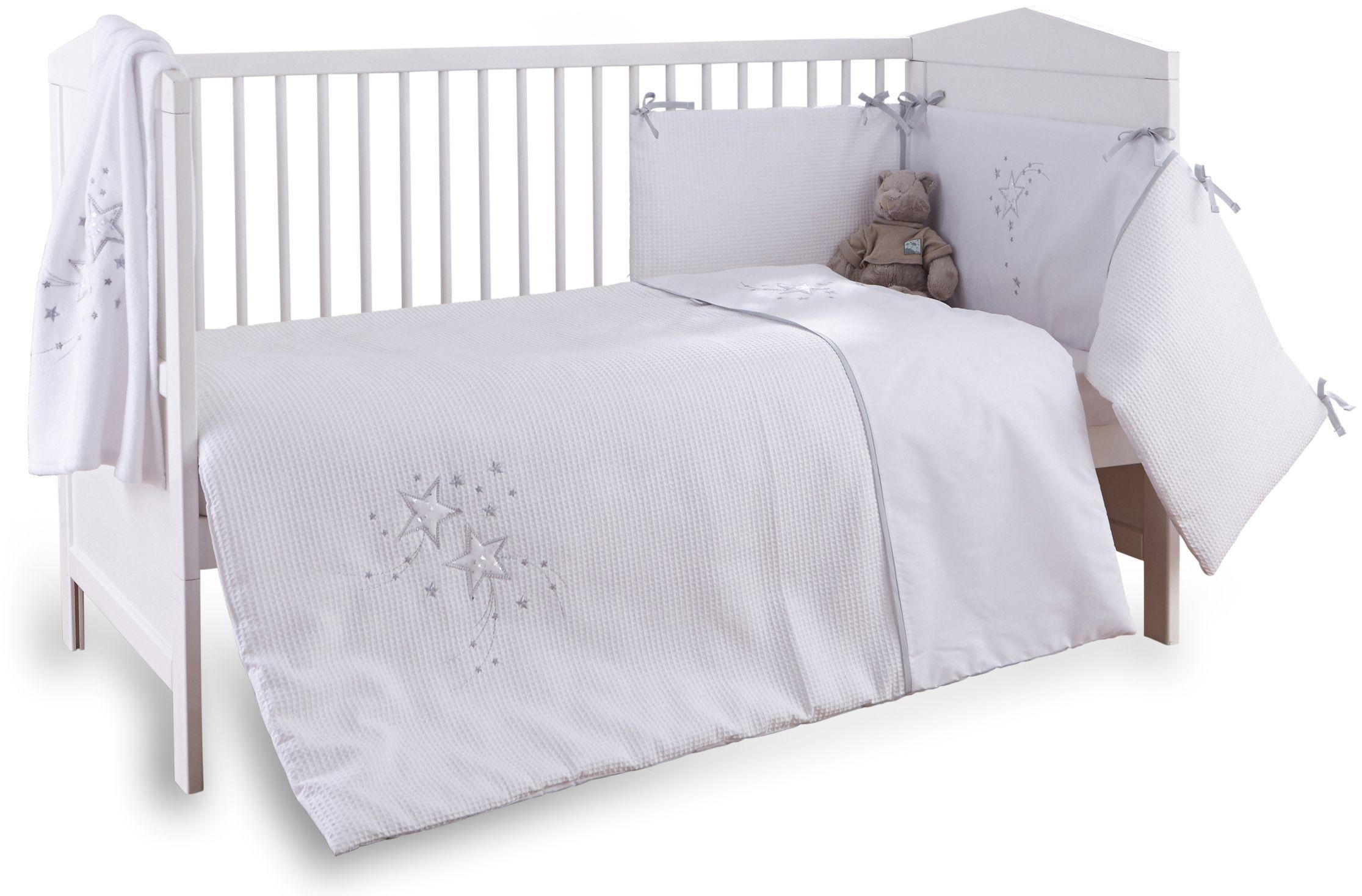 Clair de Lune Stardust 3 Piece Cot/Cot Bed Set - White Trim