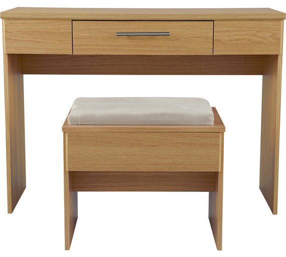 Buy Home Normandy Dressing Table And Stool Oak Effect At Your Online Shop For