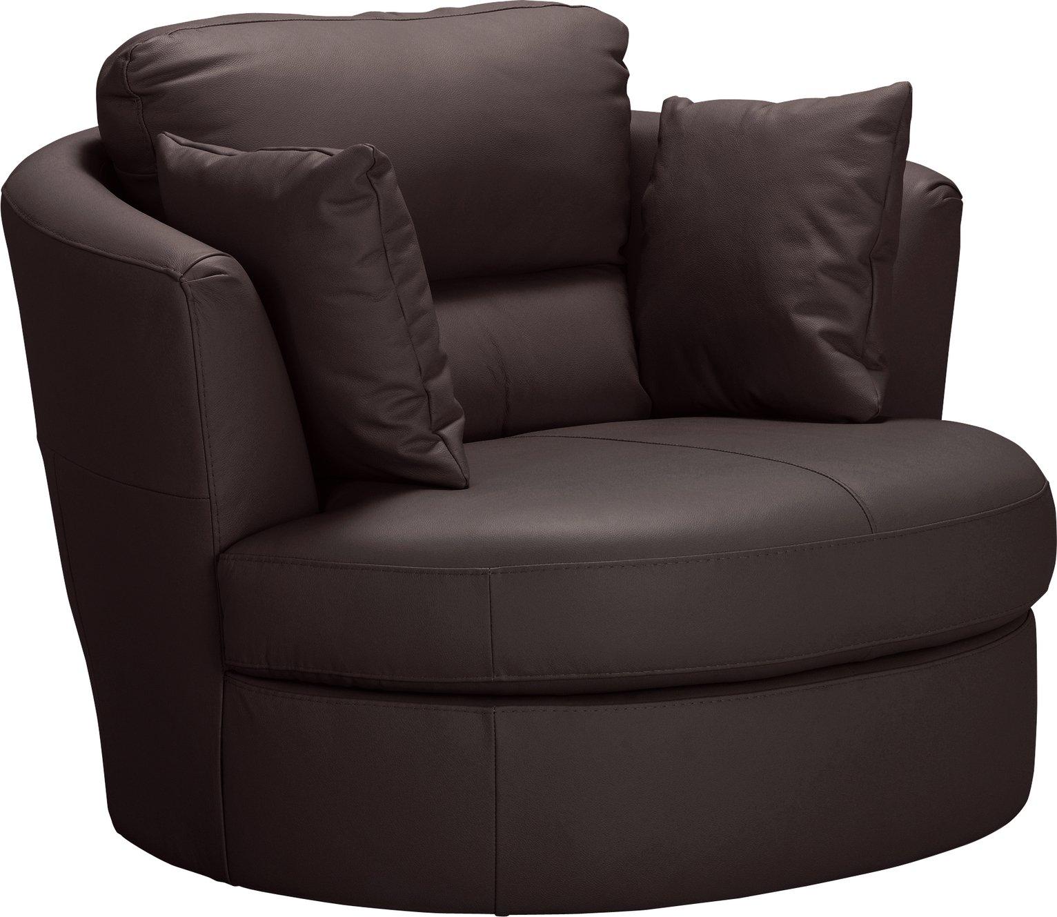 Argos Home Trieste Leather Swivel Chair - Dark Brown