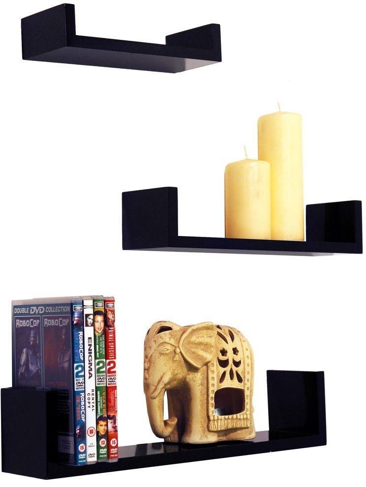 Image of 46cm Set of 3 Wall Shelves - Black