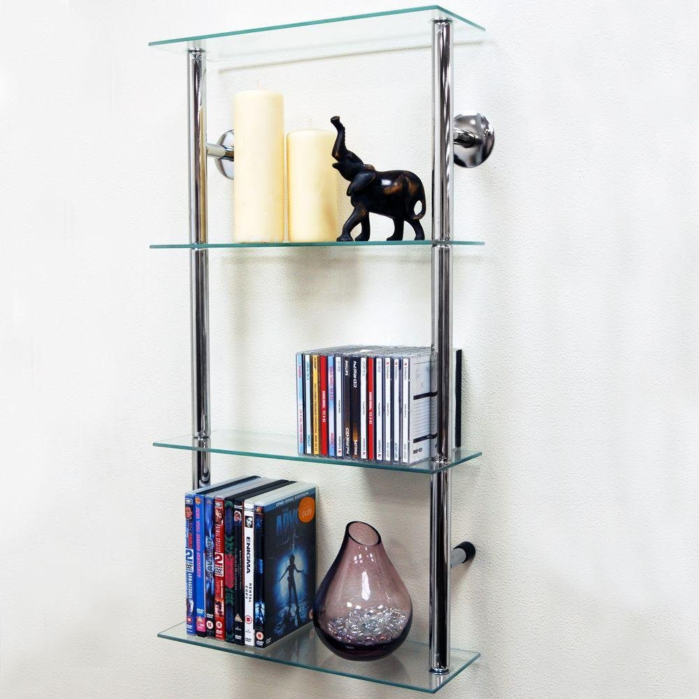 Image of 40cm 4 Glass Display Shelves - Clear and Chrome