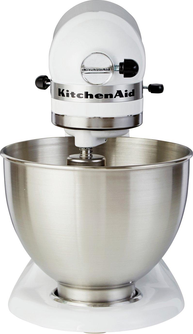 White Kitchenaid Mixer buy kitchenaid 5k45ssbwh classic stand mixer - white at argos.co