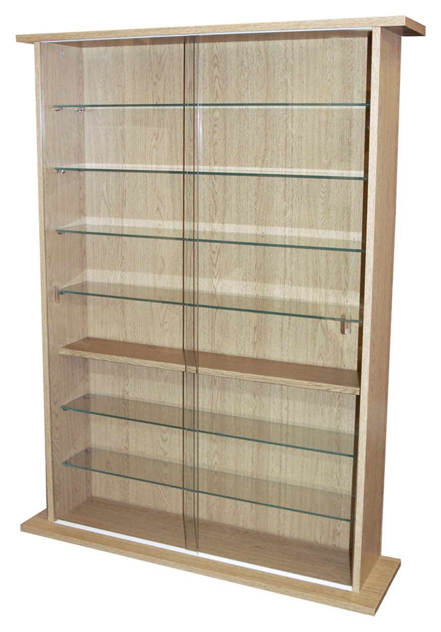 Large Display Media Cabinet - Oak