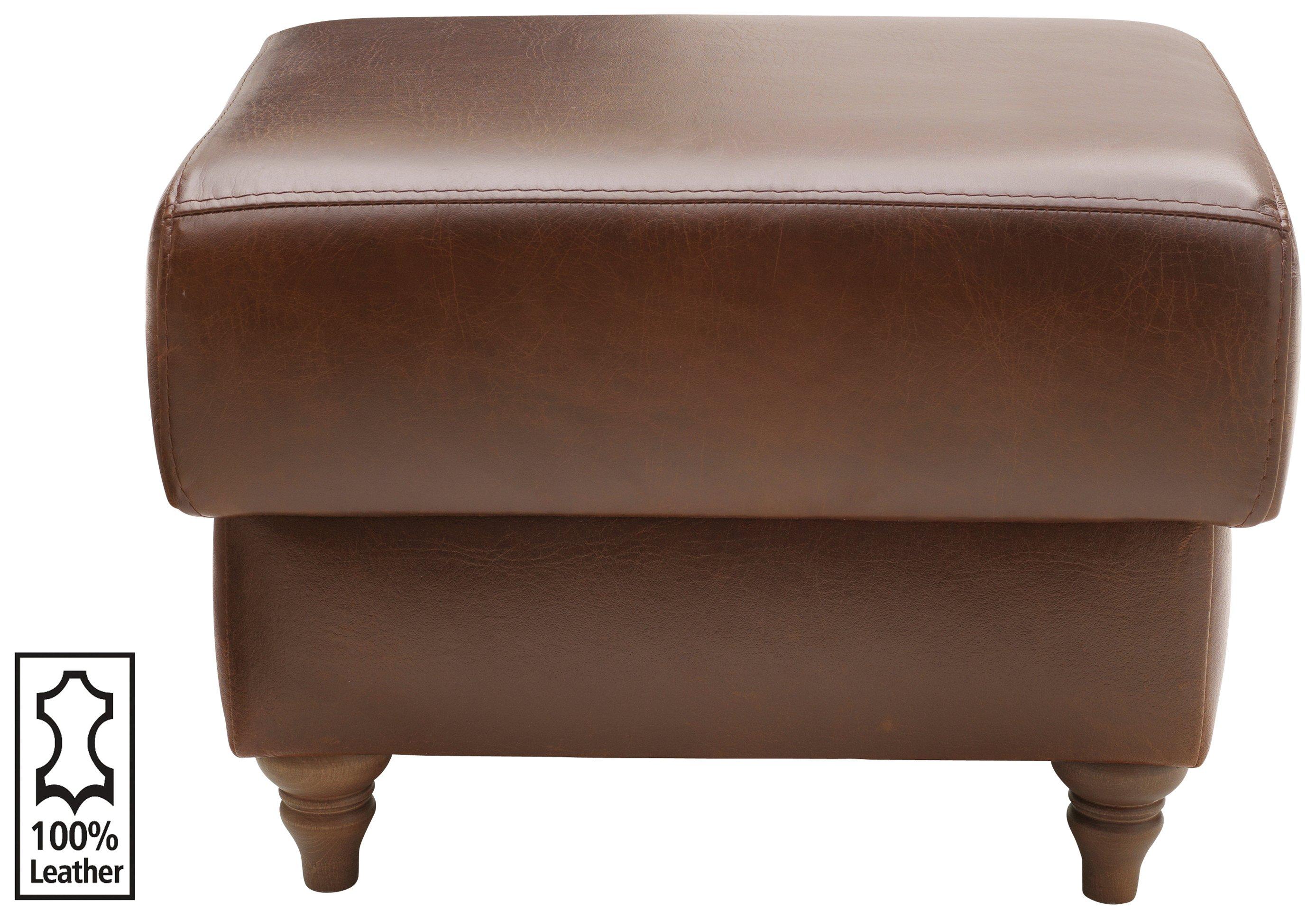 Argos Home Argyll Leather Storage Footstool - Tan