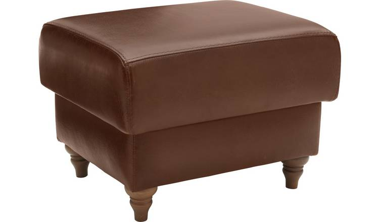 Argos Home Argyll Leather Storage Footstool - Tan