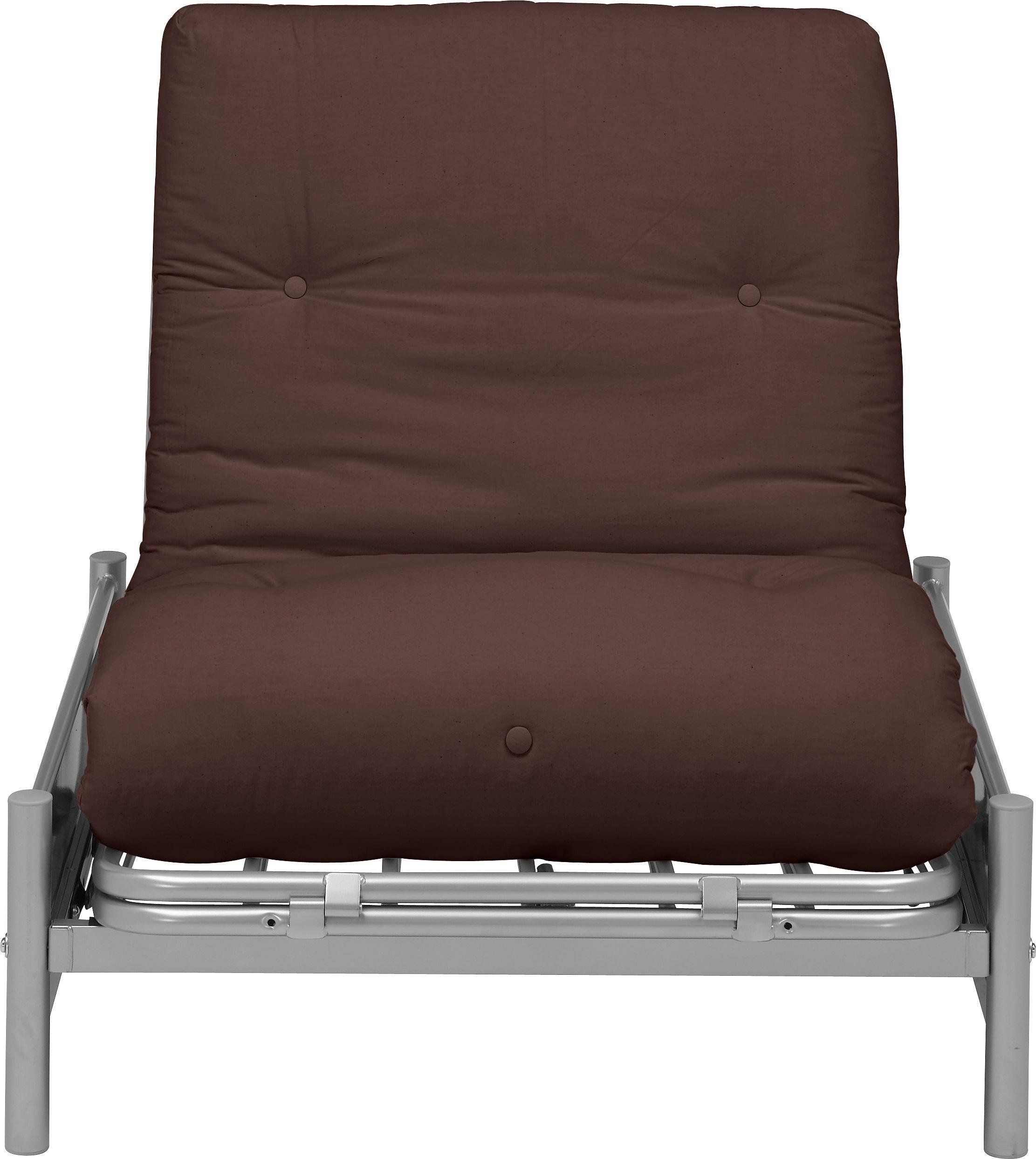 Argos Home Single Futon Metal Sofa Bed w/ Mattress - Choc