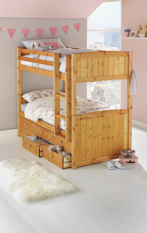 Argos Home Leigh Pine Detachable Bunk Bed & 2 Mattresses