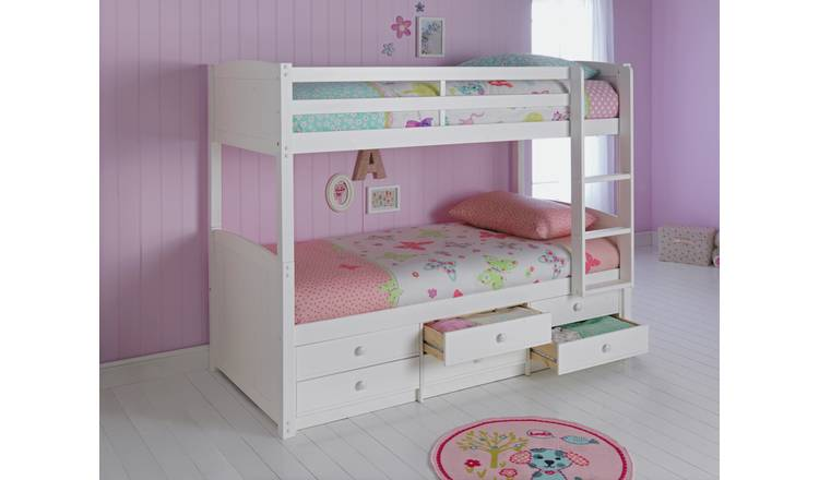 Argos Home Leigh Detachable Bunk Bed and 2 Mattresses -White