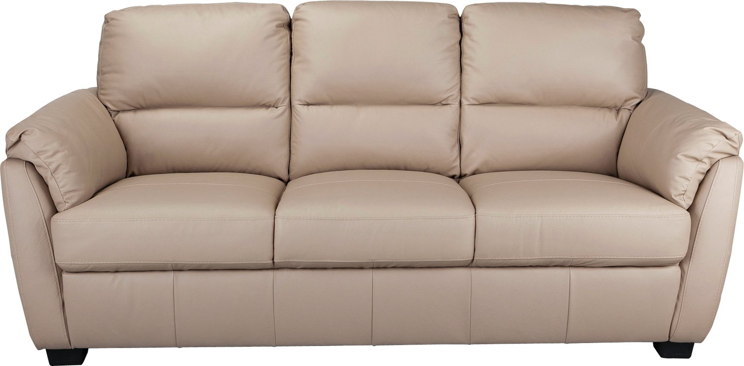 Argos Home Trieste 3 Seater Leather Sofa - Taupe