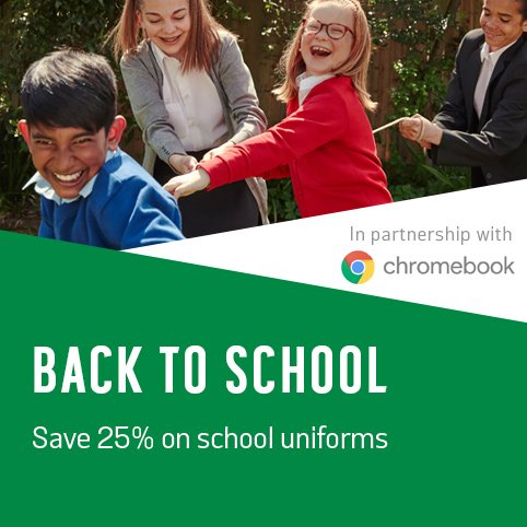 Back to School. Save 25% on school uniforms.