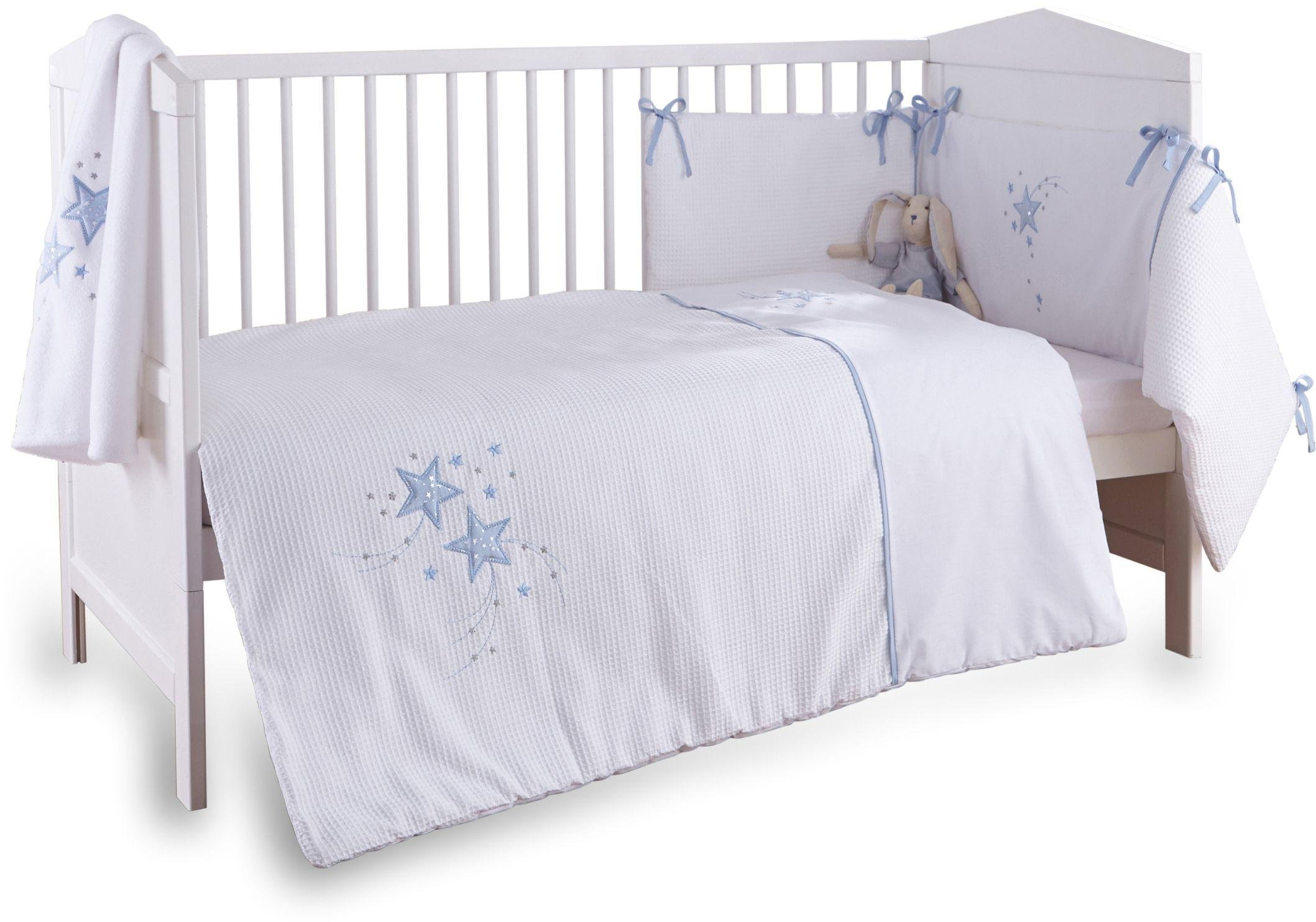 Clair de Lune Stardust 3 Piece Cot/Cot Bed Set - Blue Trim