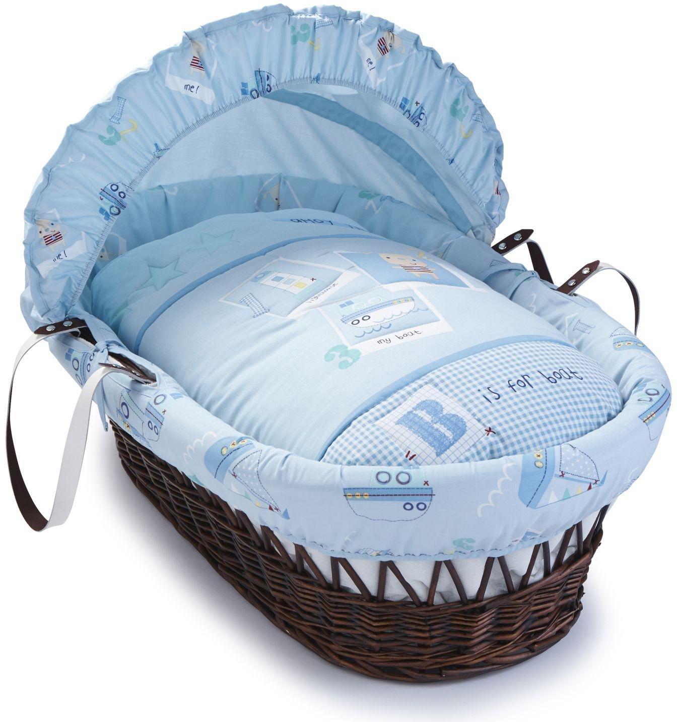 Image of Clair de Lune Ahoy Dark Wicker Moses Basket.