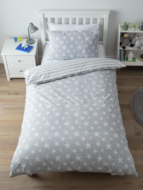 Argos Home grey star bedding set - single.