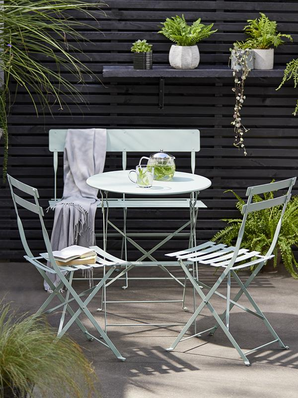 Argos Home Eve metal 2 seater garden bench - sage green.