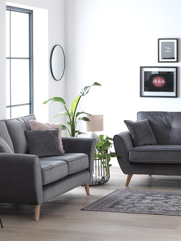 Argos Home Isla velvet 2 seater & 3 seater sofa - grey.