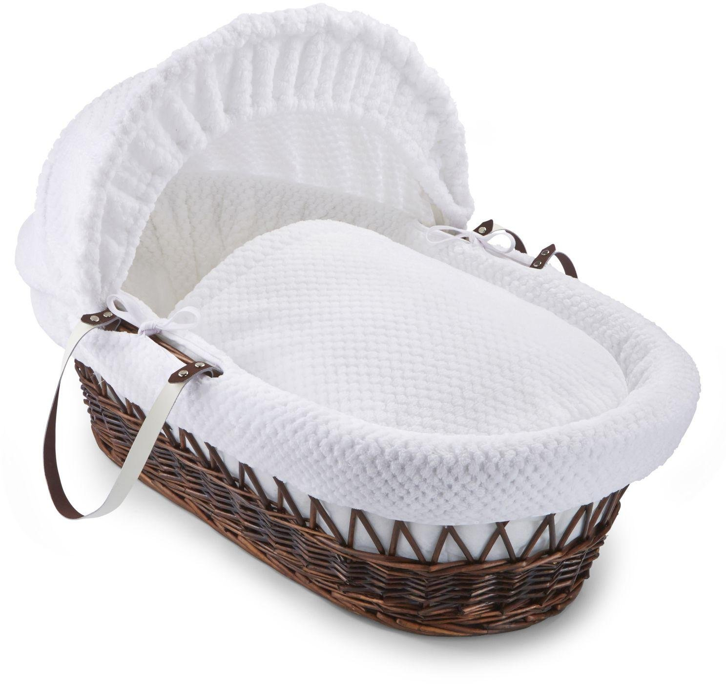 Clair de Lune Honeycomb Dark Wicker Moses Basket - White.