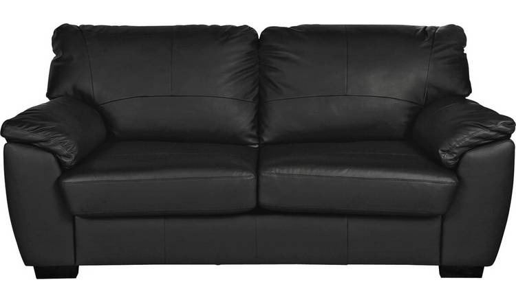 Argos Home Milano 3 Seater Leather Sofa - Black
