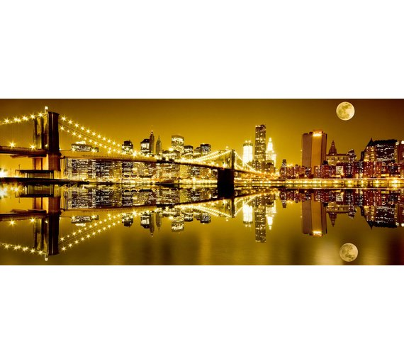 Buy Golden New York Glass Wall Art | Pictures and wall art | Argos