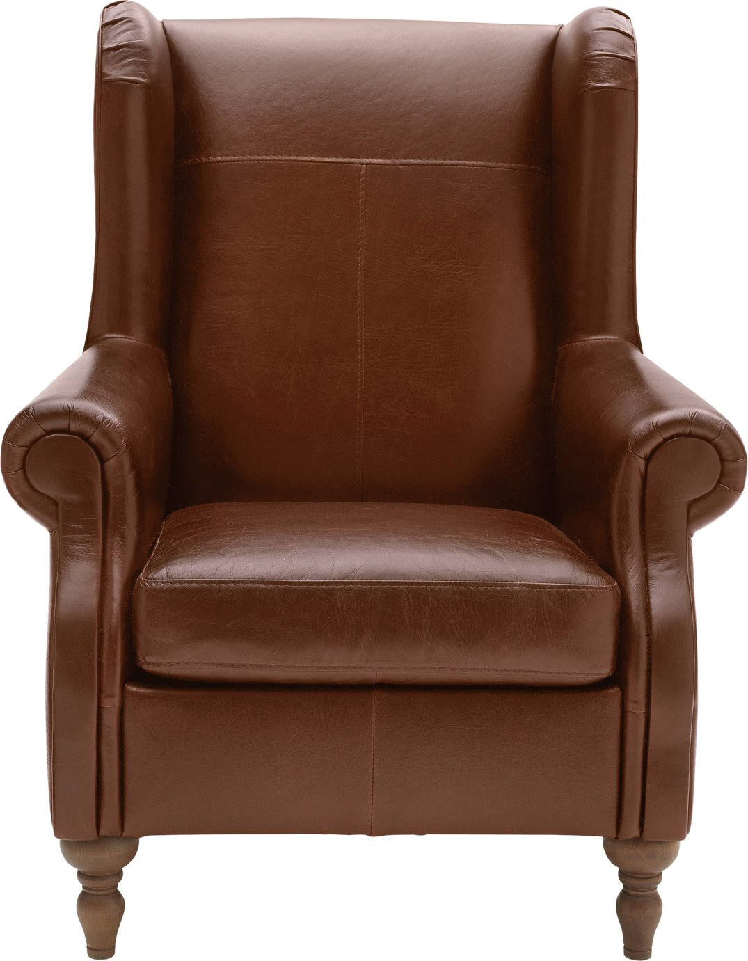 Argos Home Argyll Leather High Back Chair - Tan
